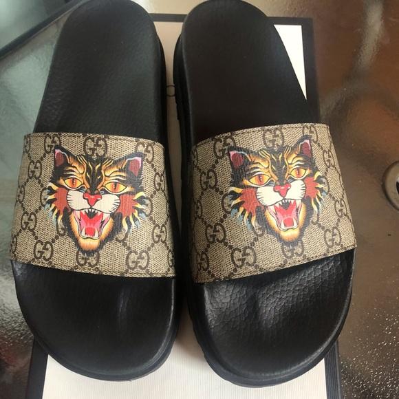 e1c9fba6bc15 Gucci Shoes | Size 10 Supreme Angry Cat Slides | Poshmark
